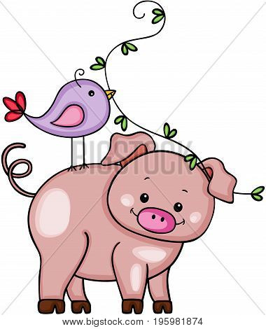 Scalable vectorial image representing a funny pig with cute bird, isolated on white.