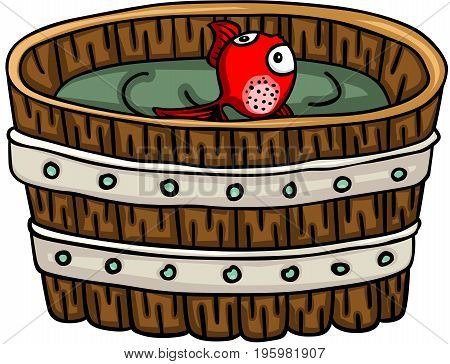 Scalable vectorial image representing a red little fish inside wood barrel, isolated on white.