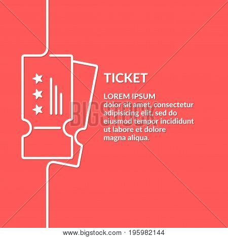 Linear poster Sale of tickets. Modern vector graphics