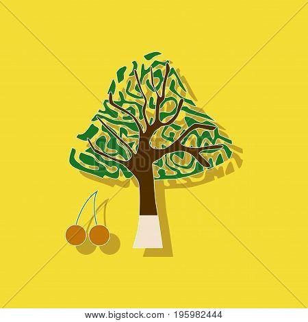 paper sticker on stylish background of plant Cerasus