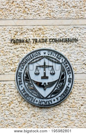 Washington Dc, Usa - July 3, 2017: Federal Trade Commission Seal, Sign And Logo In Downtown
