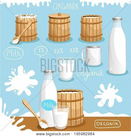 Natural and organic dairy products advertising. Fresh and healthy farm food, traditional and tasty meal banner. Milk retail poster or product presentation vector illustration in cartoon style.
