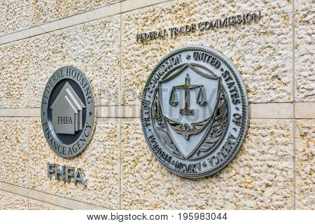 Washington Dc, Usa - July 3, 2017: Federal Trade Commission And Housing Finance Agency Seals In Down