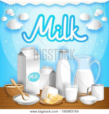 Dairy advertising with different milk products on wooden table. Natural organic dairy product, fresh and healthy farm food. Milk retail advertisement or product presentation vector illustration