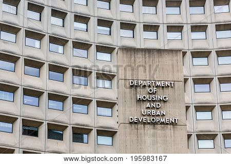 Washington Dc, Usa - July 3, 2017: Department Of Housing And Urban Development In Downtown With Clos