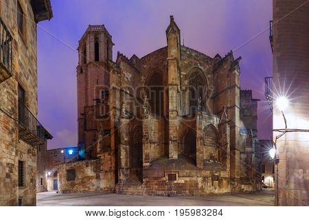 Cathedral of the Holy Cross and Saint Eulalia at night, as seen Freneria Street, Barcelona, Catalonia, Spain