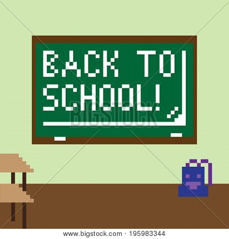 Pixel image of the classroom for the holiday of knowledge on September 1. The chalkboard shows the inscription Back to school!