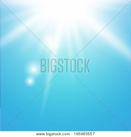 Sun with lens flare on blue background