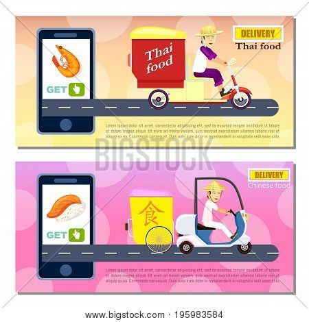 Thai and chinese fast food delivery flyers. Express delivery service poster with courier man on scooter, smartphone screen with restaurant menu. Online order food on mobile app vector illustration