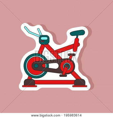 paper sticker on stylish background Bicycle exercise