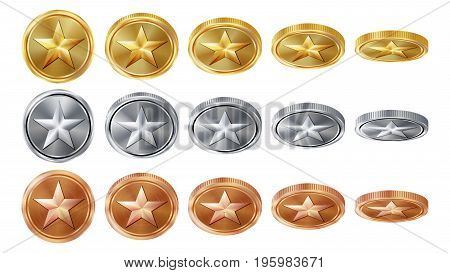 Game 3D Gold, Silver, Bronze Coins Set Vector With Star. Flip Different Angles. Achievement Coin Icons, Sign, Success, Winner, Bonus, Cash Symbol. Illustration Isolated