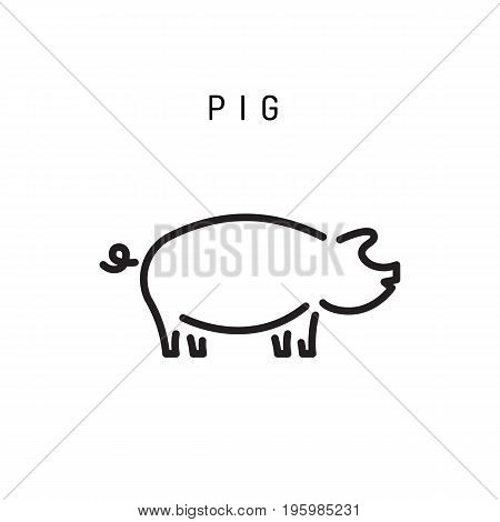 Pig icon isolated on white background. Pork vector icon. Pig logo illustration