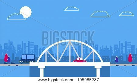 A bridge on the city sky scrapers background. Red retro style cars. Blue and red color schemes