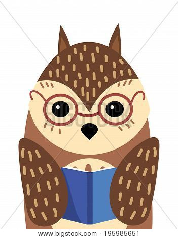A cartoon portrait of an owl with a book. Stylized owl wearing glasses. Art for children.