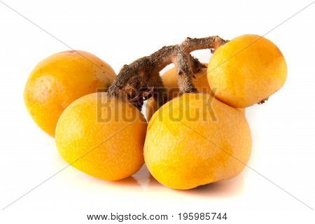 Ripe loquat or Eriobotrya japonica with leaf isolated on white background.