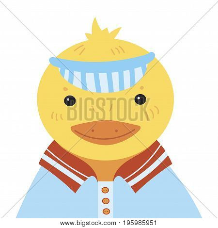 Cartoon portrait of a duckling. Stylized happy duck in a cap. Drawing for children.