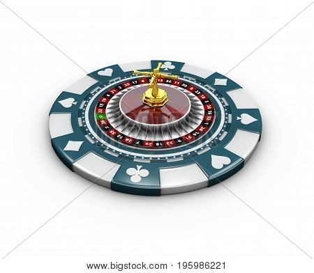 3D Illustration Of Casino Chips And Roulette, Isolated On White