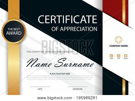 Gold Elegance horizontal certificate with Vector illustration white frame certificate template with clean and modern pattern presentation