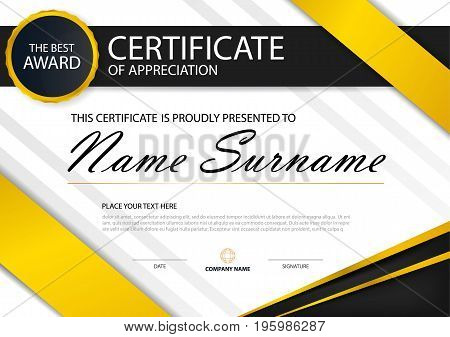 Yellow Elegance horizontal certificate with Vector illustration white frame certificate template with clean and modern pattern presentation