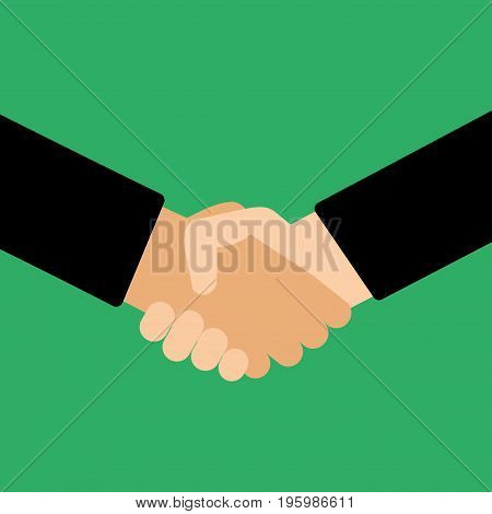 Handshake flat style on a green background