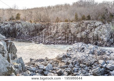 Great Falls National Park USA - December 29 2016: Great falls waterfall rapids in Virginia and Maryland