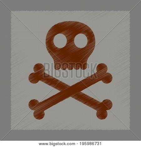 flat shading style icon of halloween skull bones