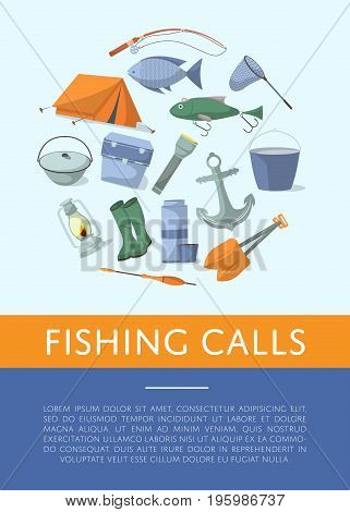 Fishing shop advertising poster in flat style. Tourist tent, anchor, fishhook, float, fishing rod, paddle, thermos, flashlight, rubber boots, boiler, cooler box. Fisher equipment vector illustration