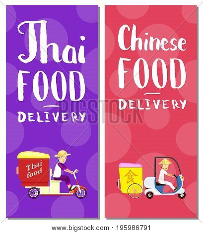 Thai and chinese fast food delivery flyers. Online order food on home, commercial shipping advertising vector illustration. Restaurant express delivery service poster with asian courier man on scooter
