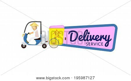 Asian fast food delivery isolated sticker. Online order food on home, commercial shipping advertising vector illustration. Restaurant food express delivery service label with courier man on scooter