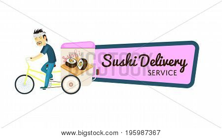 Asian sushi delivery isolated sticker. Online order food on home, commercial shipping advertising vector illustration. Restaurant food express delivery service label with courier man on bicycle