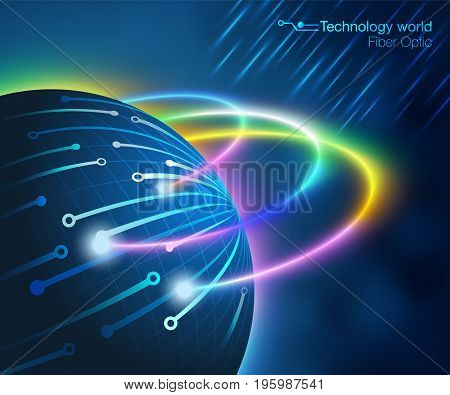 Global Fiber optic Technology Background Communicates to the high-speed world.