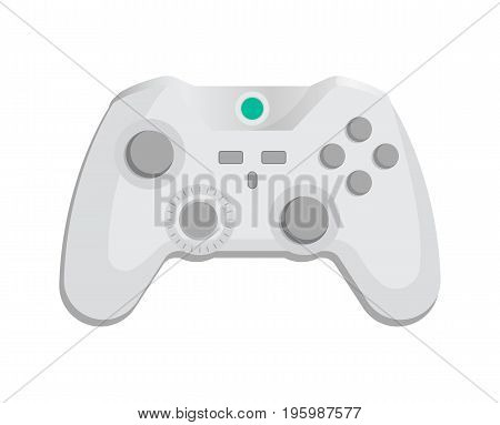 Modern wireless joypad icon in cartoon style. Game gadget, cybersport digital device, control console for video game isolated vector illustration.