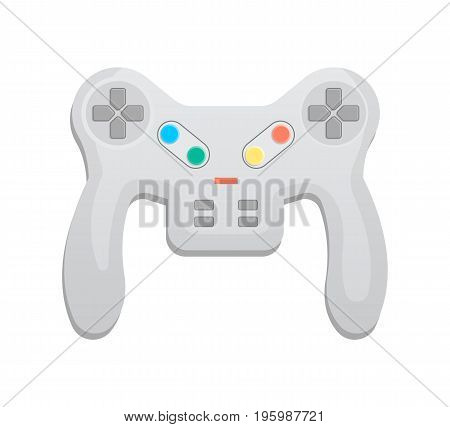 Modern wireless keypad icon in cartoon style. Game gadget, cybersport digital device, control console for video game isolated vector illustration.