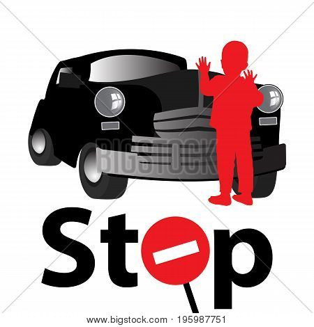 Stop Accident On The Road Children. Danger