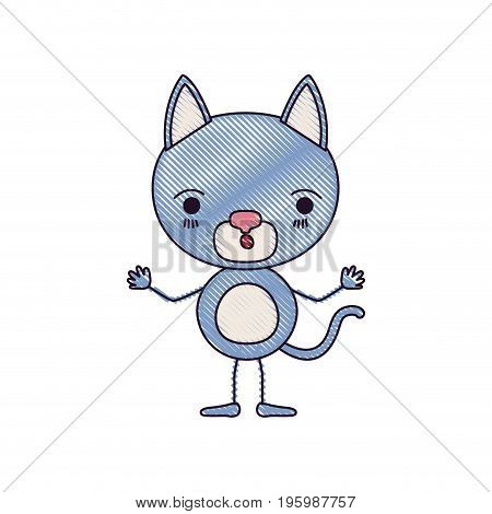 color crayon silhouette caricature of cute cat surprised expression vector illustration