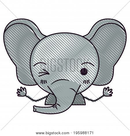 color crayon silhouette caricature half body of cute elephant wink eye expression vector illustration