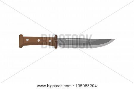 Hunting knife icon. Hunting ammunition and weapon object, cold steel arms isolated vector illustration in flat design.