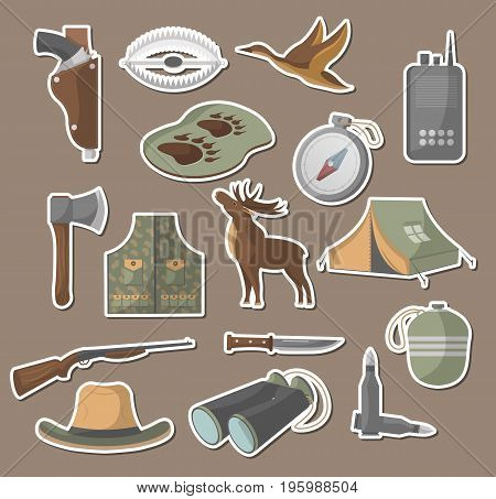 Hunting icons set in flat style. Tourist tent, flask, ax, trap, binoculars, hat, compass, communication radio, gun, shotgun, knife, deer, duck symbols. Hunter equipment isolated vector illustration