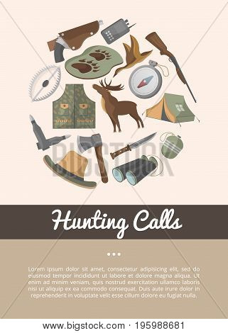 Hunting shop advertising poster in flat style. Tourist tent, flask, ax, trap, binoculars, hat, compass, communication radio, gun, shotgun, knife, deer, duck. Hunter ammunition vector illustration