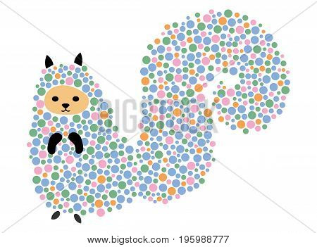 Vector illustration of a cartoon squirrel. Stylized chipmunk. Art for children. Animal from geometric figures.