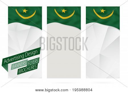 Design Of Banners, Flyers, Brochures With Flag Of Mauritania.
