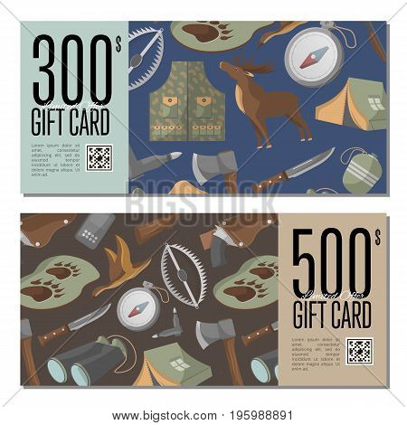 Hunting shop gift card templates. Tourist tent, flask, ax, trap, binoculars, hat, compass, communication radio, gun, shotgun, knife, deer vector illustration. Retail certificate for hunter equipment