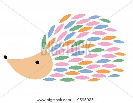 Vector illustration of a cartoon hedgehog. Stylized hedgehog. Art for children. Animal from geometric figures.