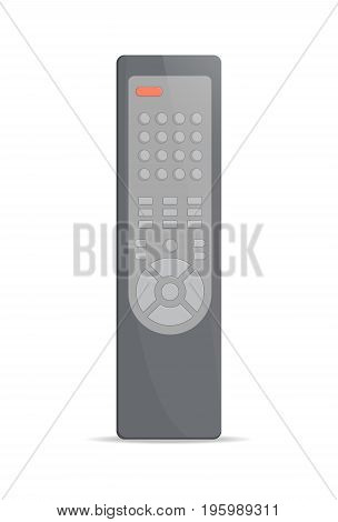 Remote control for TV icon. Front view modern infrared controller with buttons isolated on white background vector illustration.