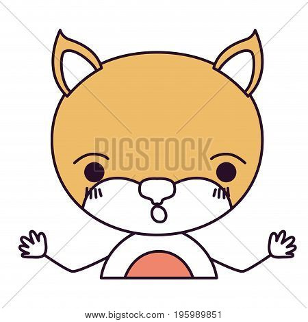 silhouette color sections caricature half body cat surprised expression with hands up vector illustration