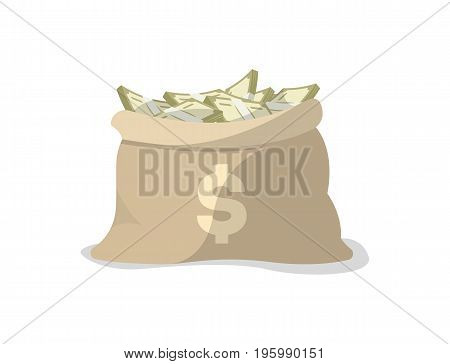 Paper money in bag icon. Money success symbol, financial and banking sign isolated on white background vector illustration.