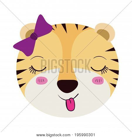 colorful caricature face female tigress animal sticking out tongue expression with bow lace vector illustration poster