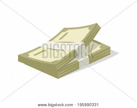 Paper money cash icon. Money success symbol, financial and banking sign isolated on white background vector illustration.