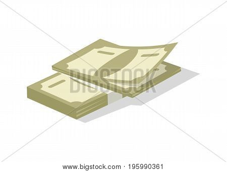 Bundle of money icon. Money success symbol, financial and banking sign isolated on white background vector illustration.