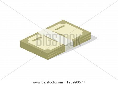 Packed paper money icon. Money success symbol, financial and banking sign isolated on white background vector illustration.